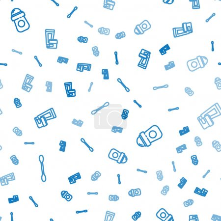 Illustration pour Set line Coton-tige pour les oreilles, rouleau déodorant antisudorifique et tube cosmétique crème lotion sur motif sans couture. Vecteur. - image libre de droit