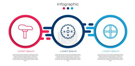 Illustration for Set line Bicycle seat, sprocket crank and wheel. Business infographic template. Vector - Royalty Free Image