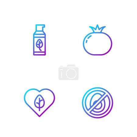 Illustration pour Set line Aucune viande, Alimentation végétalienne, Cosmétique biologique et tomate. Icônes de couleurs dégradées. Vecteur - image libre de droit