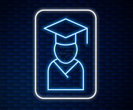 Illustration for Glowing neon line Graduate and graduation cap icon isolated on brick wall background. Vector. - Royalty Free Image