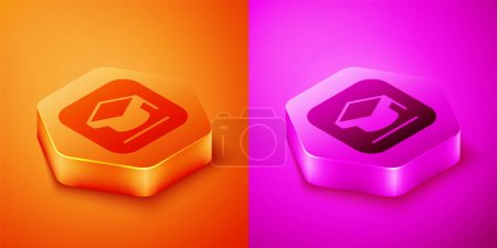 Illustration for Isometric Graduation cap icon isolated on orange and pink background. Graduation hat with tassel icon. Hexagon button. Vector. - Royalty Free Image