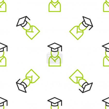 Illustration for Line Graduate and graduation cap icon isolated seamless pattern on white background.  Vector - Royalty Free Image