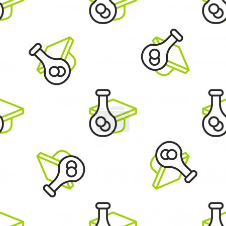 Illustration for Line Graduation cap icon isolated seamless pattern on white background. Graduation hat with tassel icon.  Vector - Royalty Free Image