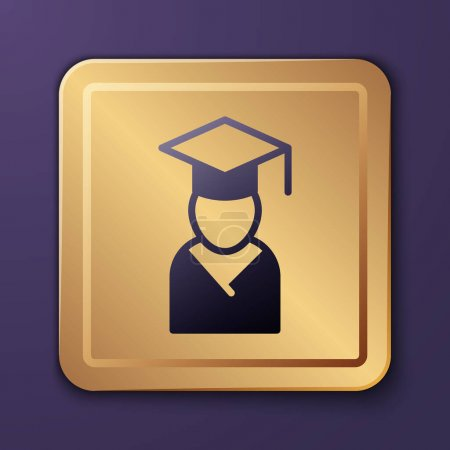 Illustration for Purple Graduate and graduation cap icon isolated on purple background. Gold square button. Vector. - Royalty Free Image
