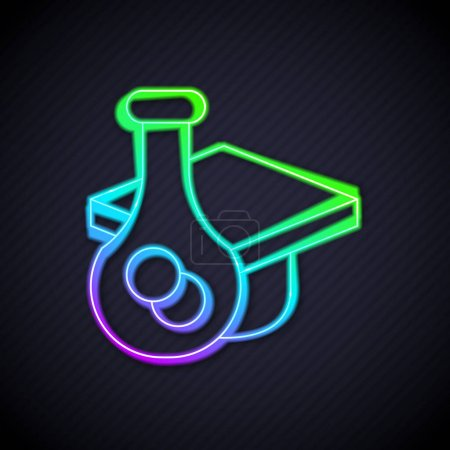 Illustration for Glowing neon line Graduation cap icon isolated on black background. Graduation hat with tassel icon.  Vector - Royalty Free Image