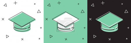 Illustration for Set Graduation cap icon isolated on white and green, black background. Graduation hat with tassel icon. Vector. - Royalty Free Image