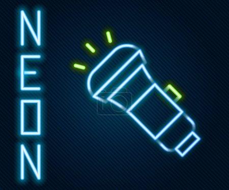 Illustration pour Ligne lumineuse néon Icône lampe de poche isolé sur fond noir. Concept de contour coloré. Vecteur. - image libre de droit