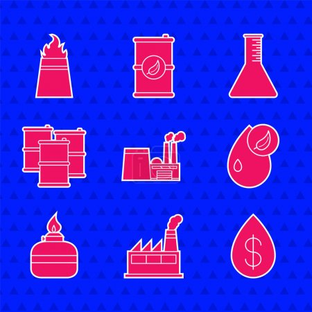 Illustration for Set Oil industrial factory building drop with dollar Bio fuel Alcohol spirit burner Barrel oil petrol test tube and rig fire icon. Vector. - Royalty Free Image