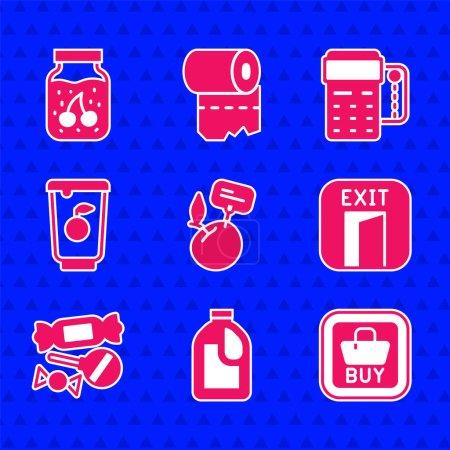 Illustration pour Set Supermarché produits alimentaires avec étiquette de prix Bouteille pour agent de nettoyage Acheter bouton Sortie de feu Candy Yogourt conteneur POS terminal carte de crédit et icône de pot de confiture. Vecteur. - image libre de droit