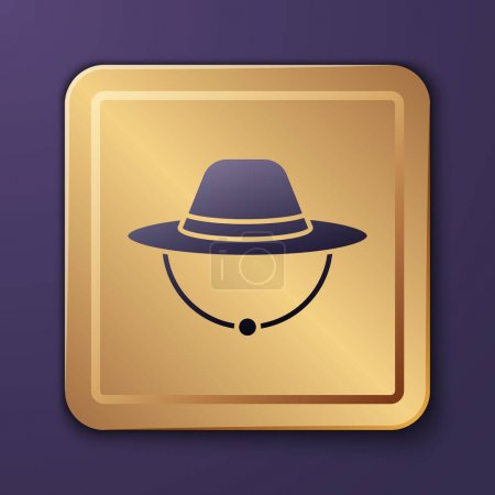 Illustration for Purple Camping hat icon isolated on purple background. Beach hat panama. Explorer travelers hat for hunting, hiking, tourism. Gold square button. Vector. - Royalty Free Image