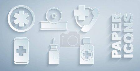 Illustration pour Set bouteille pulvérisation nasale Appel téléphonique d'urgence à l'hôpital mobile de sirop de médecine Réflecteur de tête otolaryngologique et symbole médical l'icône. Vecteur. - image libre de droit