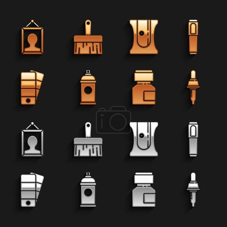 Illustration for Set Paint spray can Marker pen Pipette Paint gouache jar dye Palette Pencil sharpener Picture and brush icon. Vector. - Royalty Free Image