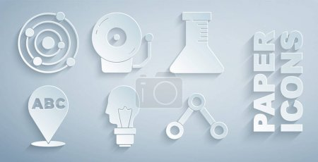 Illustration for Set Light bulb with concept of idea Test tube and flask Alphabet Molecule Ringing alarm bell and Solar system icon. Vector. - Royalty Free Image