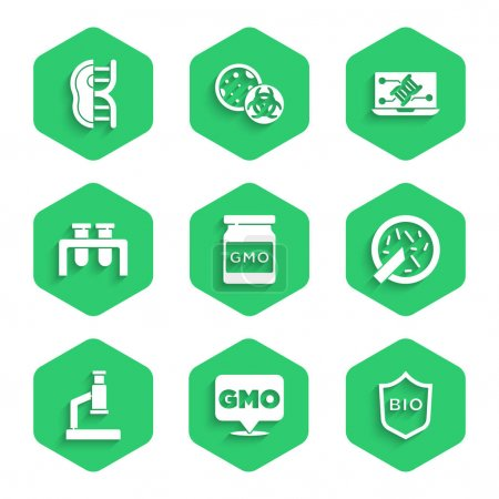 Illustration for Set GMO Shield for bio healthy food Petri dish with bacteria Microscope Test tube and flask Genetic engineering modification and Genetically modified meat icon. Vector. - Royalty Free Image
