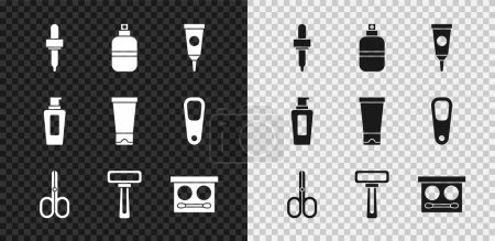 Illustration for Set Pipette Perfume Cream or lotion cosmetic tube Scissors Shaving razor Eye shadow palette Bottle of shampoo and icon. Vector. - Royalty Free Image