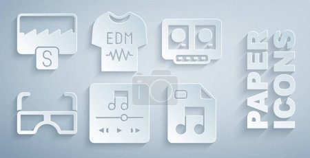 Illustration for Set Music player DJ remote and mixing music Glasses MP3 file document T-shirt and wave equalizer icon. Vector. - Royalty Free Image