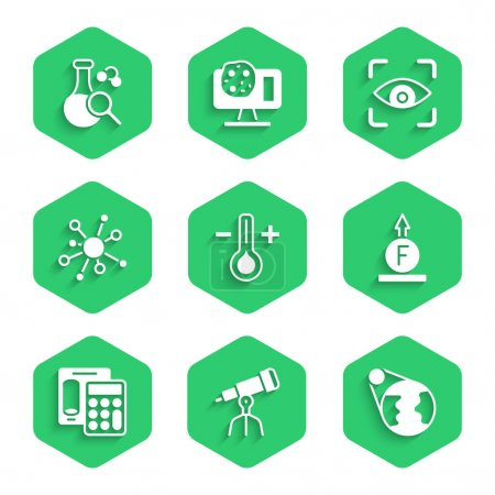 Illustration for Set Thermometer Telescope Earth globe Force of physic formula Calculator Molecule Eye scan and Test tube icon. Vector. - Royalty Free Image
