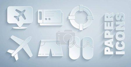 Illustration pour Set maillots de bain Bouée de sauvetage Avion Tongs Billet de voyage et bulle vocale avec icône de l'avion. Vecteur. - image libre de droit
