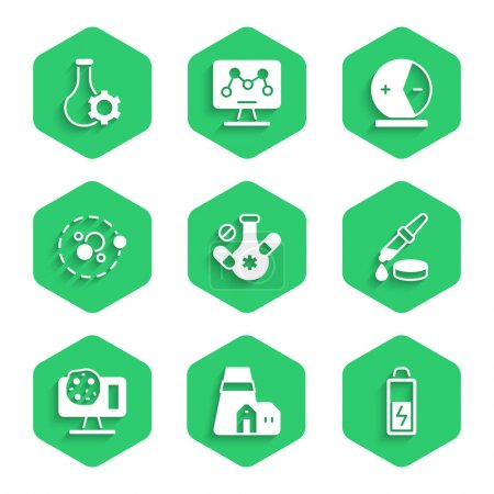 Illustration for Set Medicine pill Power station plant Battery Pipette Genetic engineering Atom and Test tube icon. Vector. - Royalty Free Image