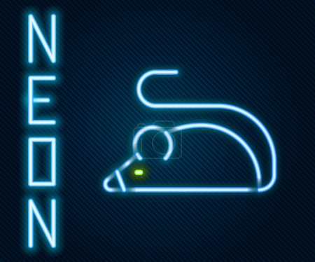 Illustration for Glowing neon line Experimental mouse icon isolated on black background. Colorful outline concept. Vector - Royalty Free Image