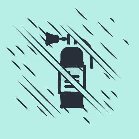 Illustration pour Icône de l'extincteur noir isolé sur fond vert. Style scintillant. Vecteur. - image libre de droit