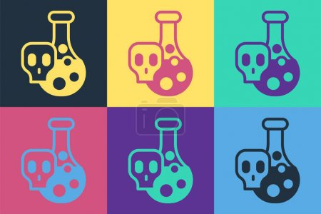 Illustration for Pop art Laboratory chemical beaker with toxic liquid icon isolated on color background. Biohazard symbol. Dangerous symbol with radiation icon.  Vector - Royalty Free Image