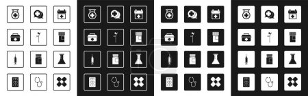 Illustration for Set Doctor appointment, Crutch crutches, First aid kit, Hospital signboard, Medicine bottle, Dialogue with the doctor, Test tube and flask and Syringe icon. Vector - Royalty Free Image