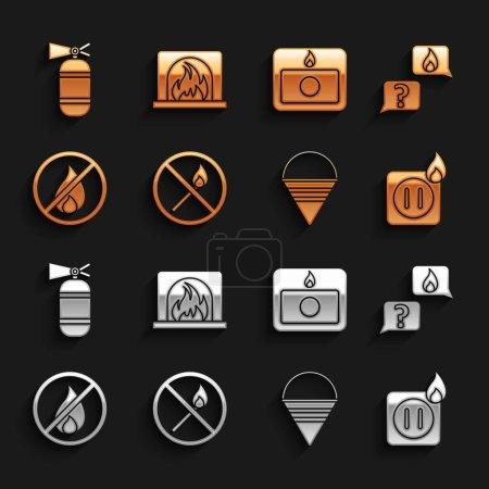 Illustration pour Set No fire match, Téléphone avec appel d'urgence 911, Câblage électrique de la prise, Seau à cône d'incendie, système d'alarme, extincteur et icône de cheminée intérieure. Vecteur - image libre de droit