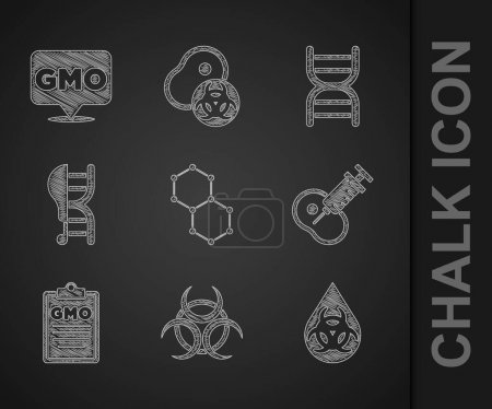 Illustration for Set Chemical formula, Biohazard symbol, GMO, Genetically modified meat, chicken, DNA and  icon. Vector - Royalty Free Image