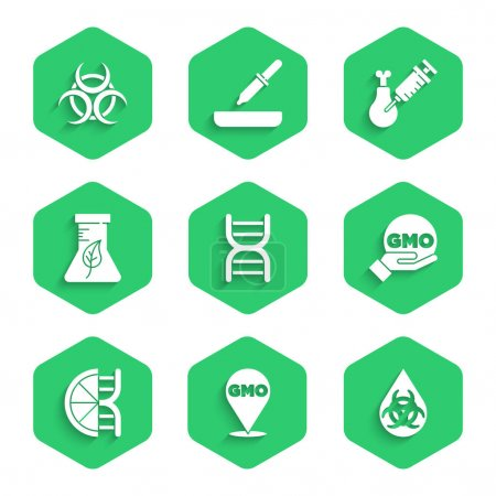 Illustration for Set DNA symbol, GMO, Genetically modified orange, Test tube and flask, Gmo research chicken and Biohazard icon. Vector - Royalty Free Image