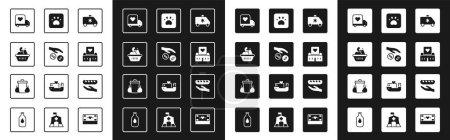Illustration pour Set voiture d'urgence, don et charité, boîte à nourriture, camion de livraison avec cœur, centre de bénévolat, impression de pattes et icône de poubelle. Vecteur - image libre de droit