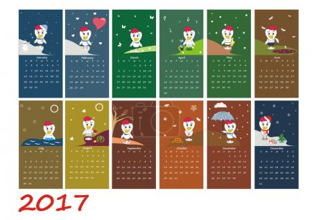 Calendar for 2017 year with rooster - chinese symbol of new year
