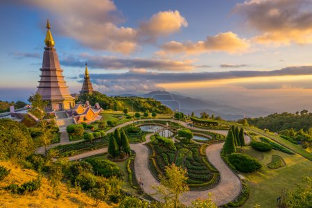 Landscape of Two Pagodas at Doi Inthanon. Chiang Mai. Thailand.