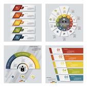 Kolekce 4 barevné prezentace šablony návrhů. Vektorové pozadí