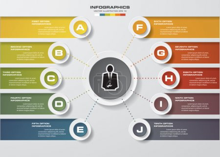 Illustration for Infographic design template and business concept with 10 options, parts, steps or processes. Can be used for workflow layout, diagram, number options, web design. - Royalty Free Image