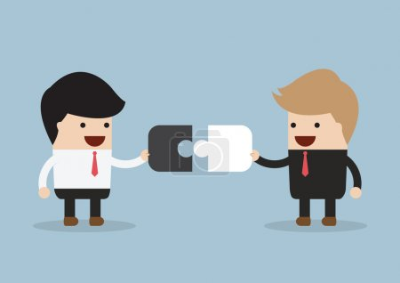 Illustration for Two businessman connect puzzle pieces, VECTOR, EPS10 - Royalty Free Image