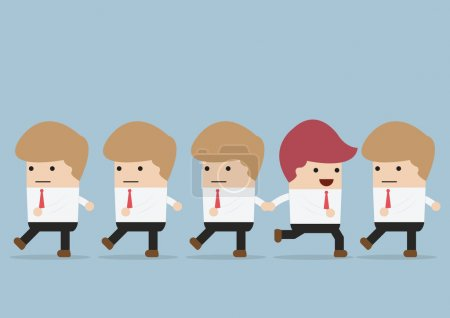 Businessman  go to different way of his team, Individuality conc