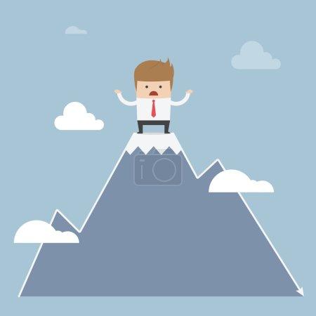 Illustration pour Homme coincé au sommet de la montagne, concept boursier, VECTOR, EPS10 - image libre de droit