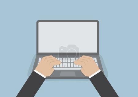 Illustration pour Main d'homme d'affaires sur clavier d'ordinateur portable avec écran blanc, VECTOR, EPS10 - image libre de droit