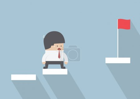 Illustration for Businessman facing with the missing step to success, VECTOR, EPS10 - Royalty Free Image