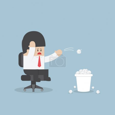 Illustration for Businessman have no idea and throwing crumpled paper to trash, VECTOR, EPS10 - Royalty Free Image
