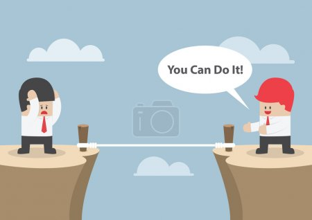 """Illustration for Businessman motivate his friend to cross the cliff by saying """"You Can Do It"""", VECTOR, EPS10 - Royalty Free Image"""