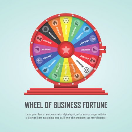 Illustration for Wheel of fortune infographic design element, VECTOR, EPS10 - Royalty Free Image