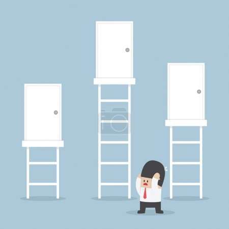 Illustration for Businessman make a decision to choosing the right door, VECTOR, EPS10 - Royalty Free Image