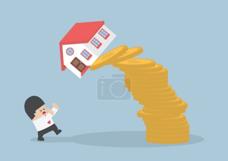 Businessman and falling house and coins