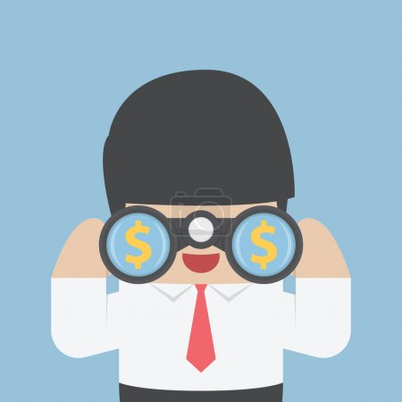 Illustration for Businessman looking through binoculars with dollar sign on the lens, VECTOR, EPS10 - Royalty Free Image