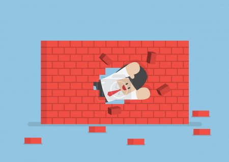 Businessman breaking through the wall
