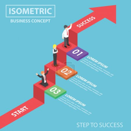 Illustration for Businesspeople on business graph ladder, Step to success, Flat 3d web isometric infographics design, VECTOR, EPS10 - Royalty Free Image