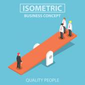 Isometric quality businessman weighing more than four business p