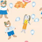 Seamless pattern with cute animals toys and balloons on a light background